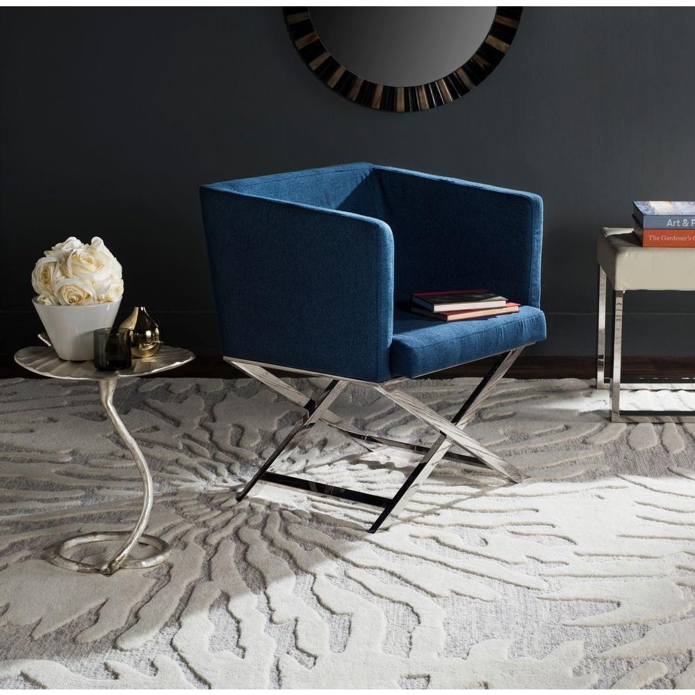 Celine Navy Dacron Arm Chair