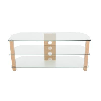 Oak and Glass 3-helf up to 60 in. Corner TV Stand
