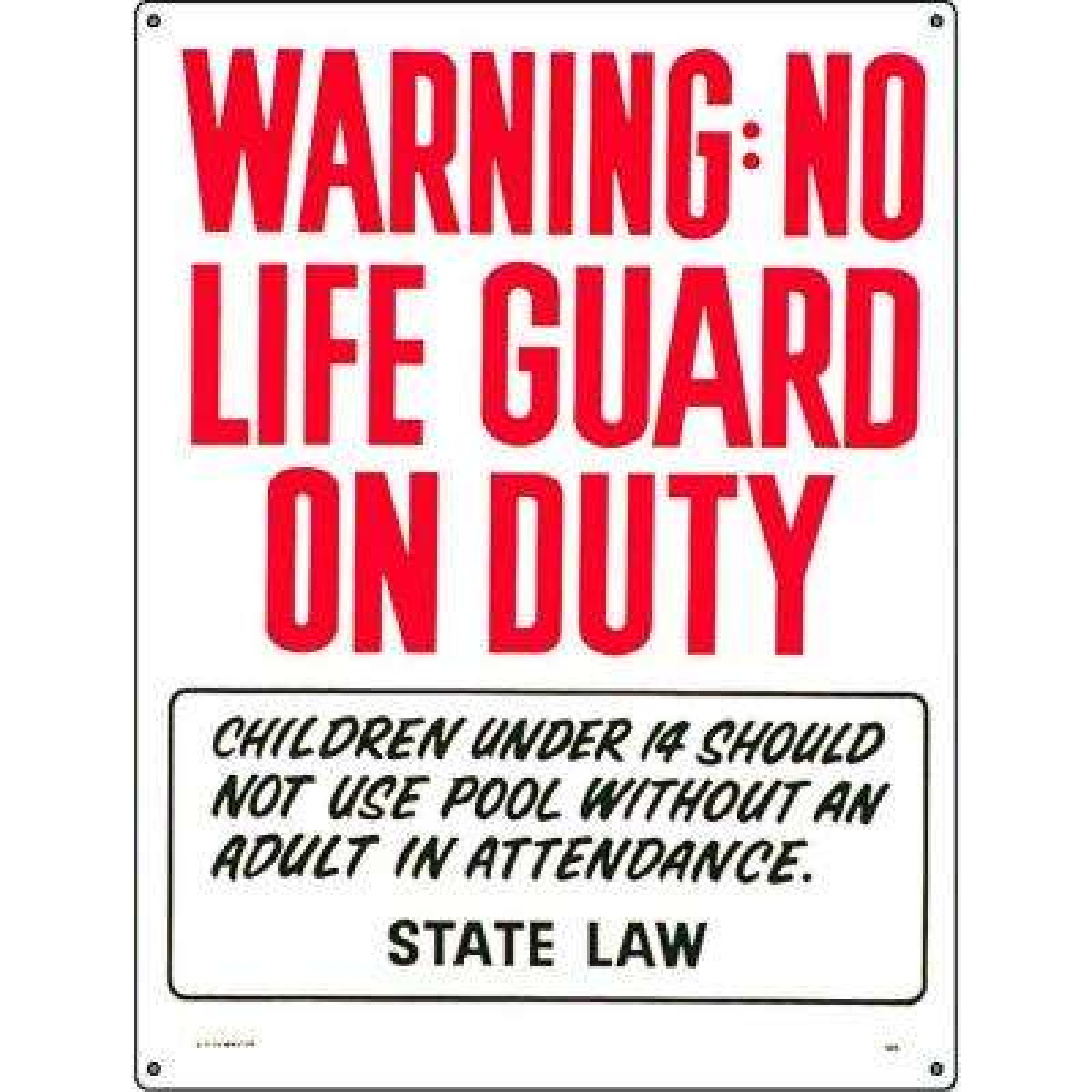 Warning: No Lifeguard on Duty Pool Sign (Oregon Compliant)