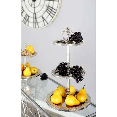 Polished Silver Decorative 3-Tier Tray Stand with Flourish-Designed Rims