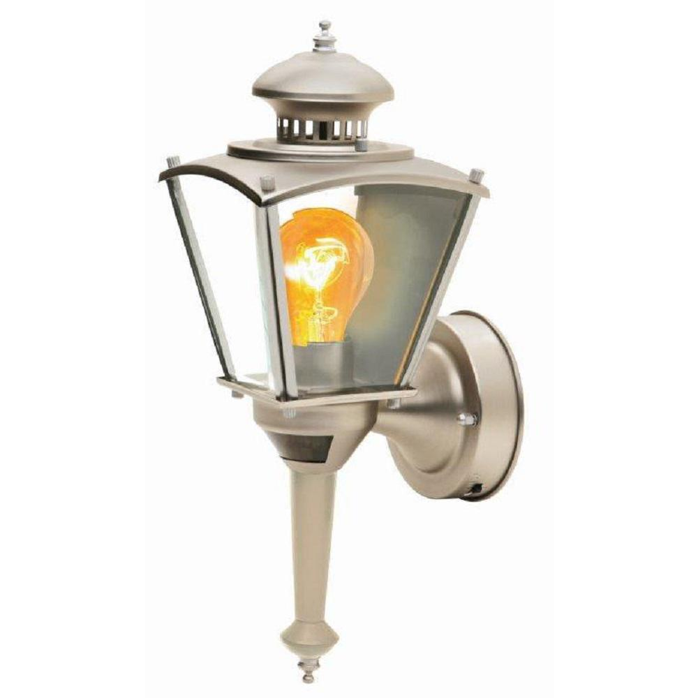 Southwire 16 in.Beveled Glass Coach 1-Light Pewter Motion Activated Outdoor Dusk to Dawn Wall Mount Lantern