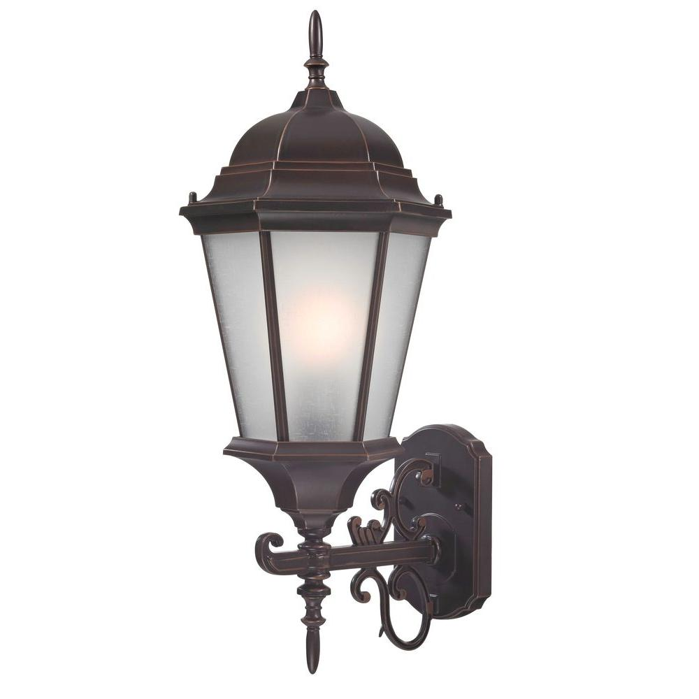 Design Large Coach Traditional Wall-Mount 22.75 in. Outdoor Old Bronze Lantern with White Glass Shade