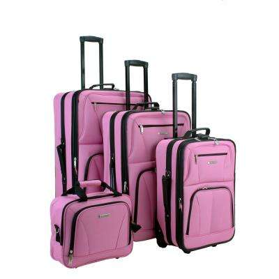 Sydney Collection Expandable 4-Piece Pink Softside Luggage Set