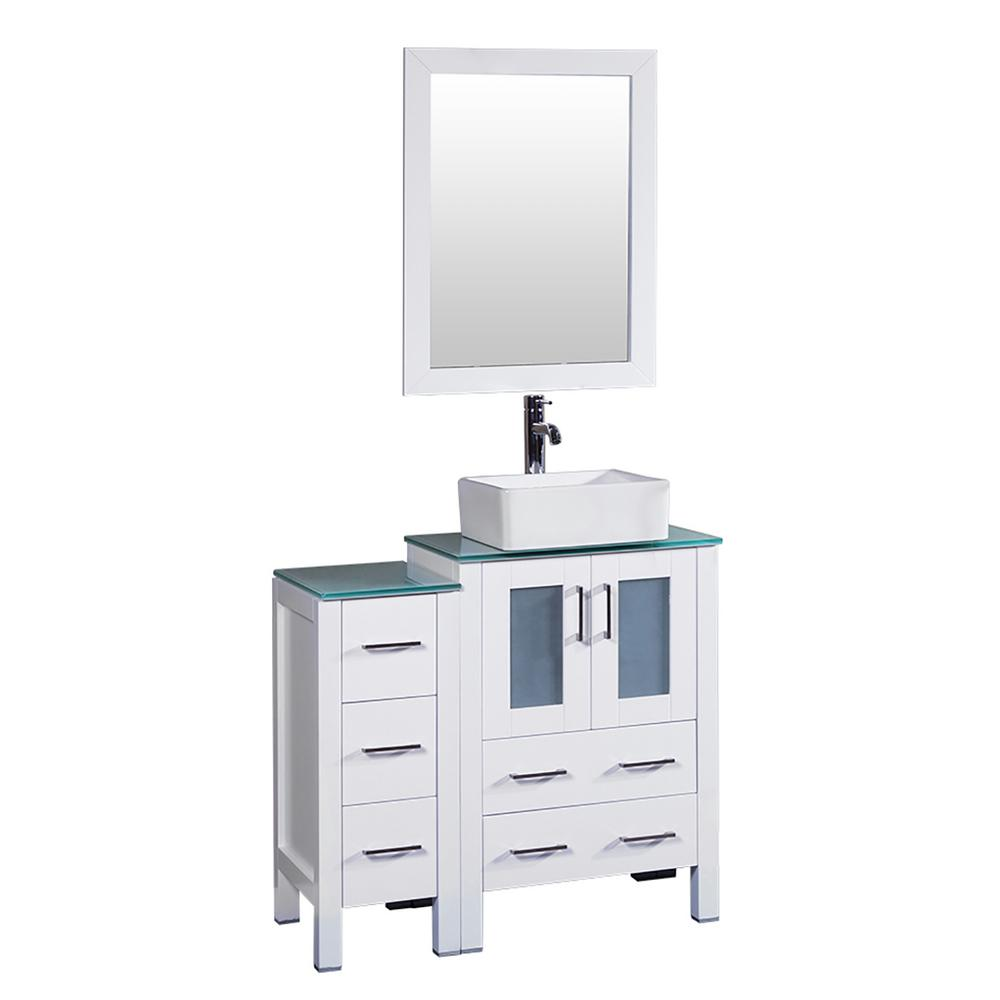 36 in. W Single Bath Vanity in White with Tempered Glass