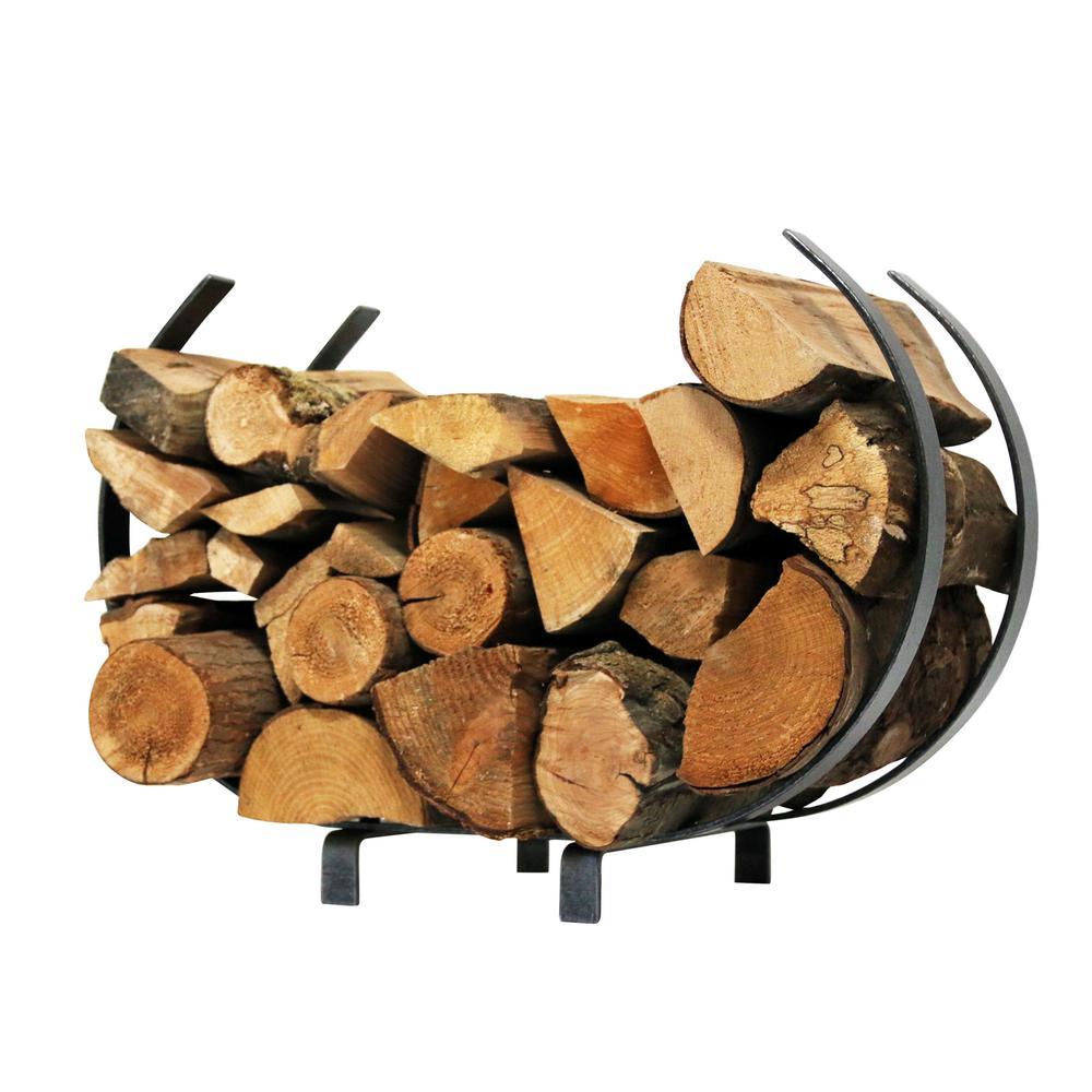 2.33 ft. Handcrafted Indoor/Outdoor Large U Shaped Firewood Rack Hammered Steel