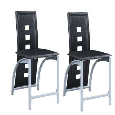 Black Metal and Faux Leather High Chair with Eyelet Design (Set of 2)