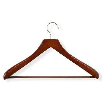 Cherry Finish Deluxe Contoured Suit Hanger with Non-Slip Bar (2-Pack)