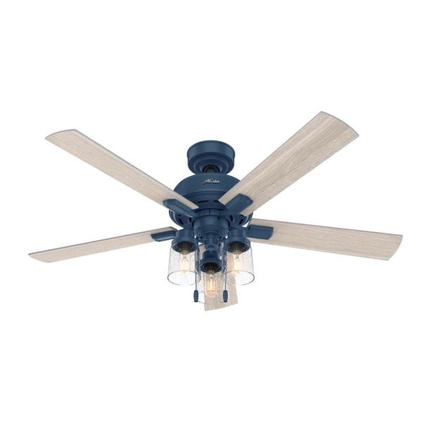 Hartland 52 in. LED Indoor Indigo Blue Ceiling Fan with Light Kit