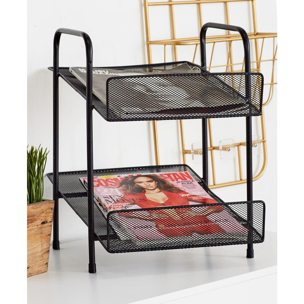Black 2-Tier File Rack