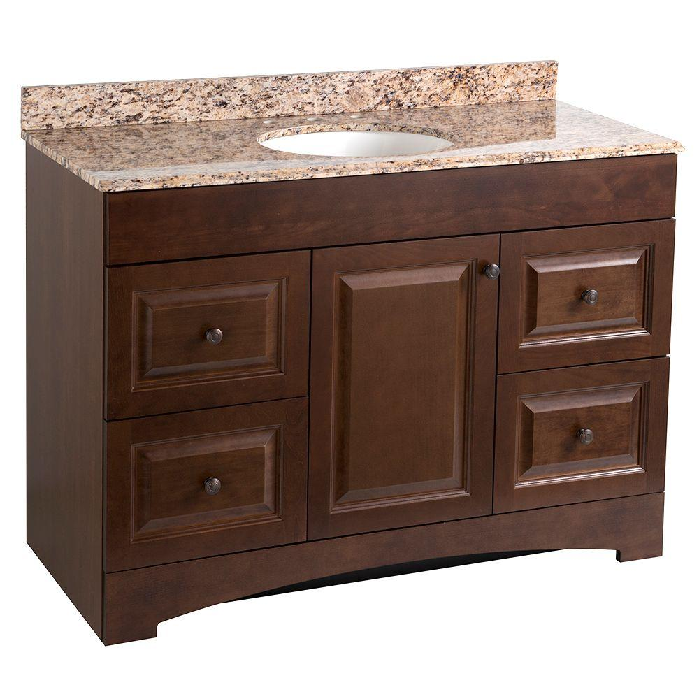 WoodCrafters Regency 49 in. Vanity in Auburn with Stone Effects Vanity Top in Santa Cecilia