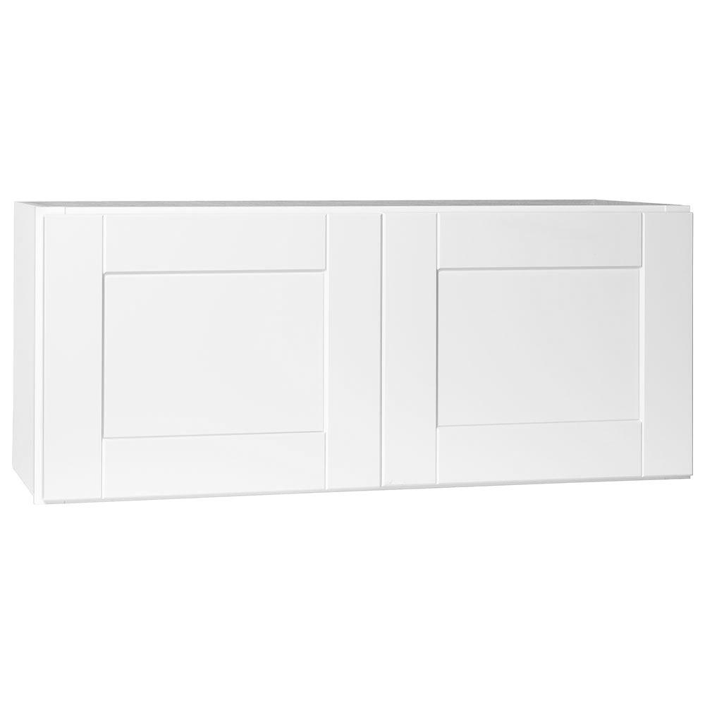 Hampton Bay Shaker Assembled 36x15x12 in. Wall Bridge Kitchen Cabinet in Satin White
