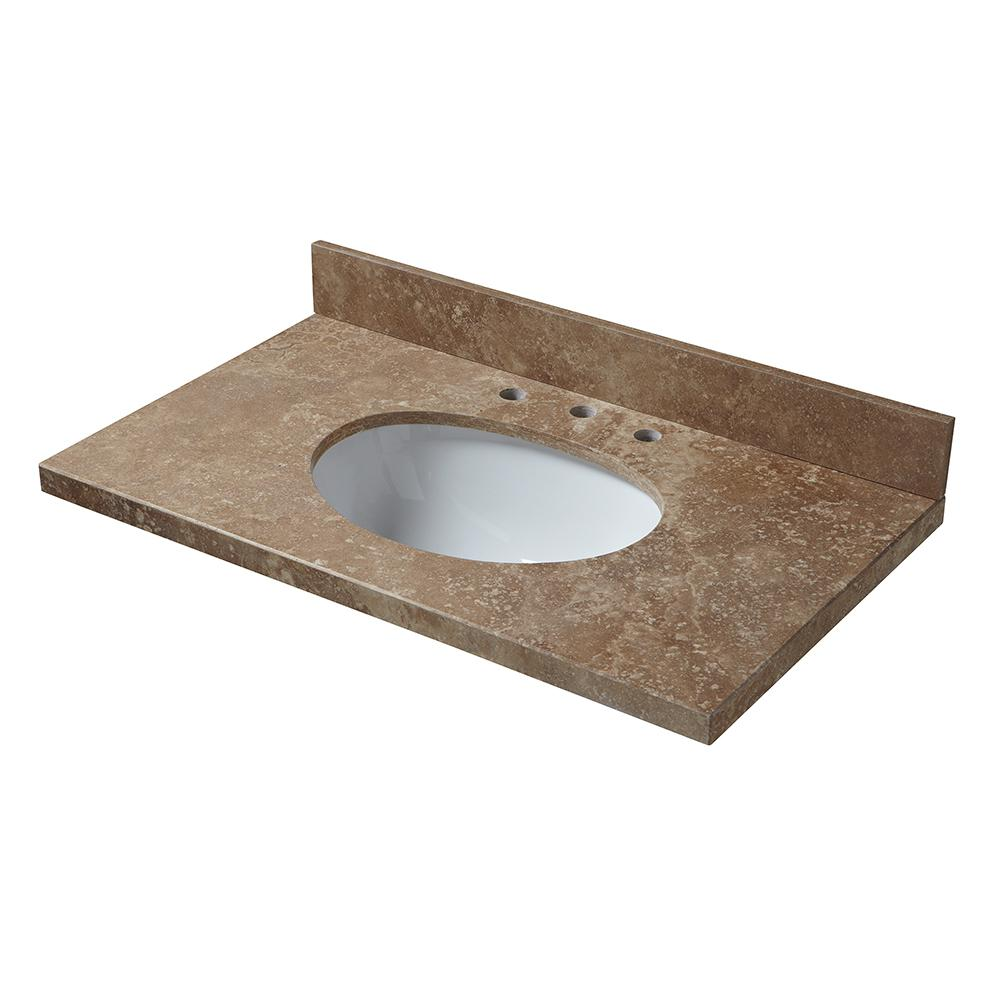 Pegasus 37 in. W Travertine Vanity Top in Noche Rustico with White Bowl and 8 in. Faucet Spread