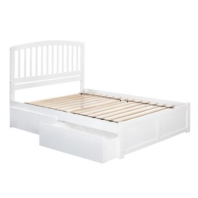 Richmond White Queen Platform Bed with Flat Panel Foot Board and 2-Urban Bed Drawers