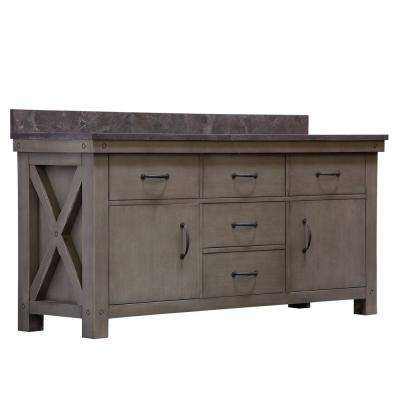 Aberdeen 72 in. W x 34 in. H Vanity in Grizzle Gray with Granite Vanity Top in Limestone with White Basins and Mirror