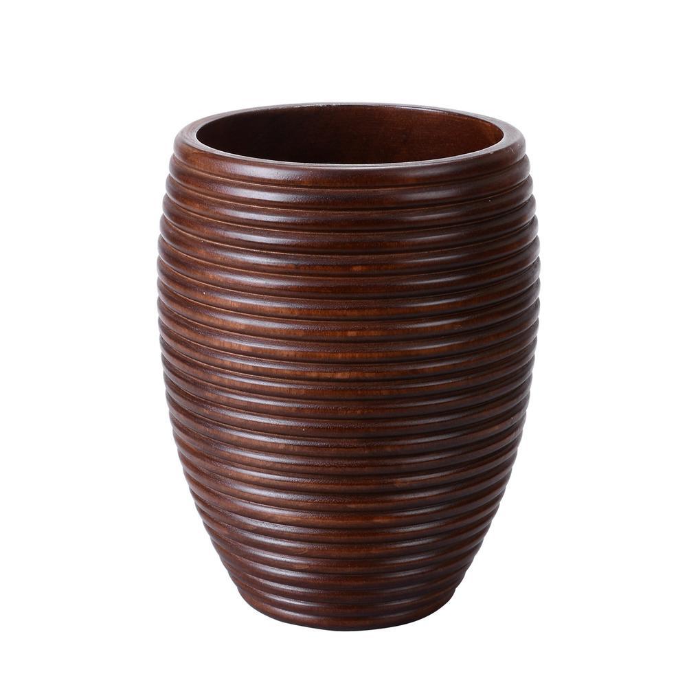 10 in. Brown Handmade Decorative Short Round Mango Wood Ripple Vase