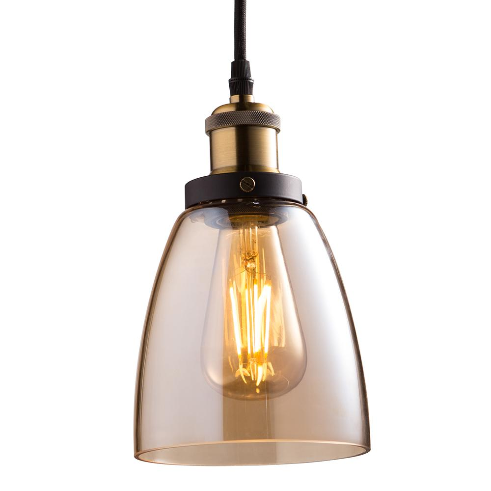 Feit Electric 1 Light Br Pendant Fixture With Amber Shade And St19 Dimmable Led Edison