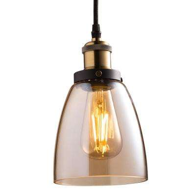 1-Light Brass Pendant Fixture with Amber Shade and ST19 Dimmable LED Edison Amber Glass Filament Light Bulb (4-Pack)