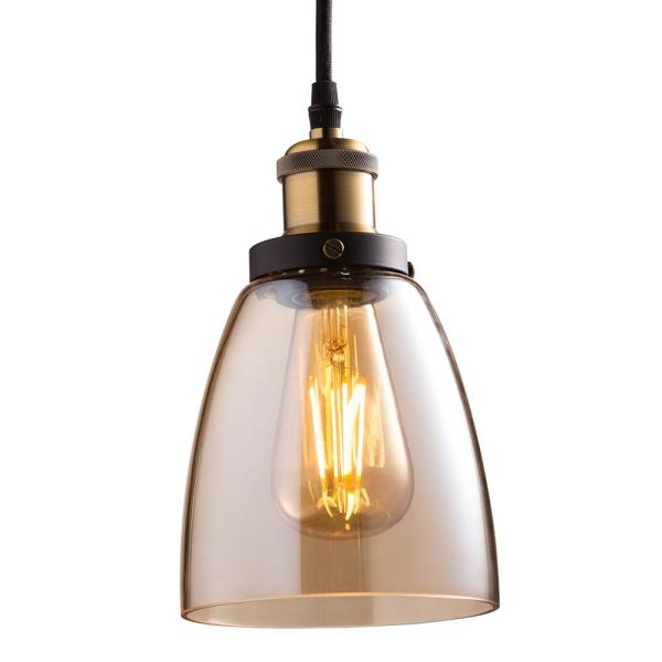 4-Light Brass Pendant Fixture with Amber Shade and ST19 Dimmable LED Edison Amber Glass Filament Light Bulb