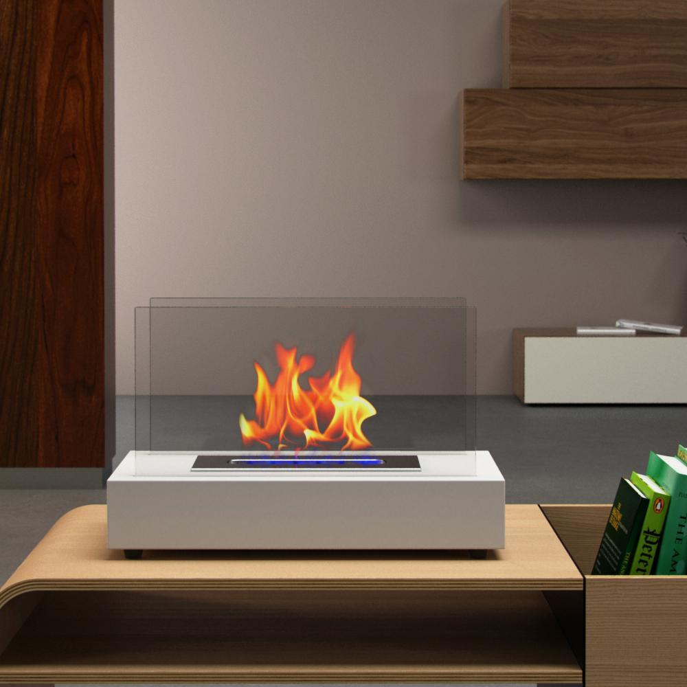 Moda Flame Vigo 14 In Vent Free Ethanol Fireplace In White