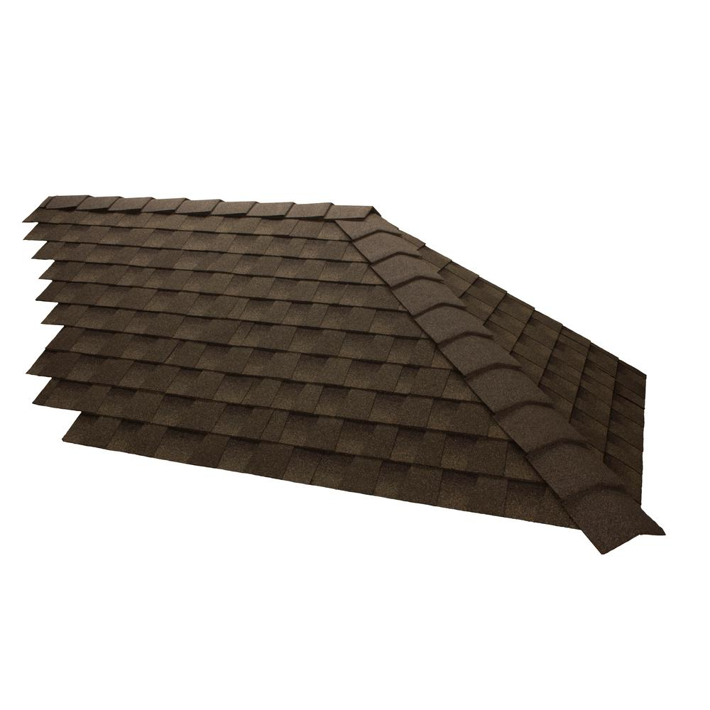 Gaf Timbercrest 10 In W Weathered Wood Bullnose Hip And Ridge Cap Shingles 20 Lin Ft Per Box 30 Pieces 0892900 The Home Depot