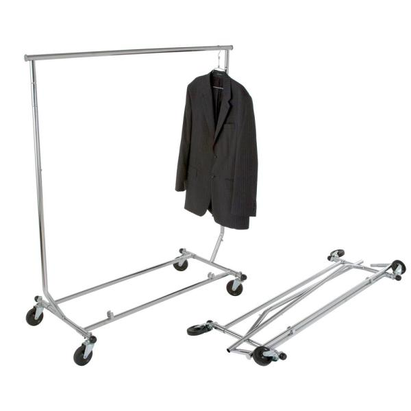 Chrome Steel Collapsible Clothes Rack with Wheels (48 in. W x 65 in. H)