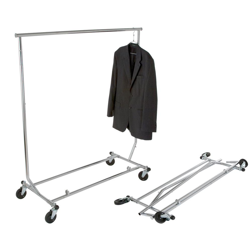 48 in. W x 65 in. H Chrome Collapsible Rolling Garment
