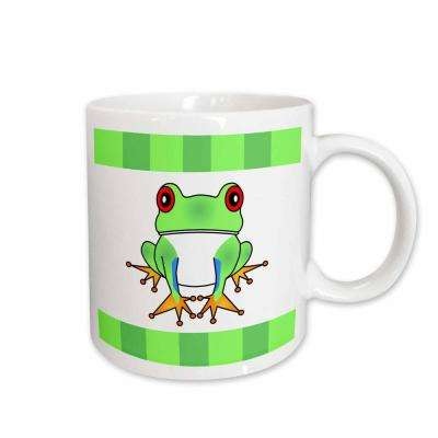 Janna Salak Designs Woodland Creatures 11 oz. White Ceramic Coffee Mug, Tree Frog with Stripes