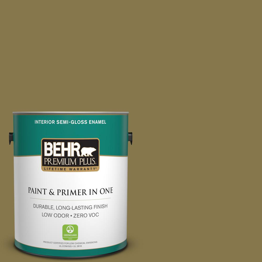 1-gal. #M330-7 Green Tea Leaf Semi-Gloss Enamel Interior Paint