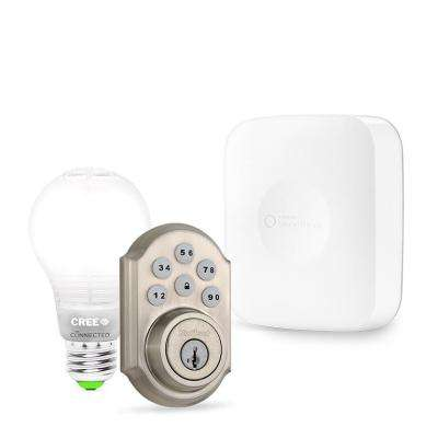 SmartThings Hub with Cree Connected LED Bulb and Kwikset Satin Nickel Connected Deadbolt
