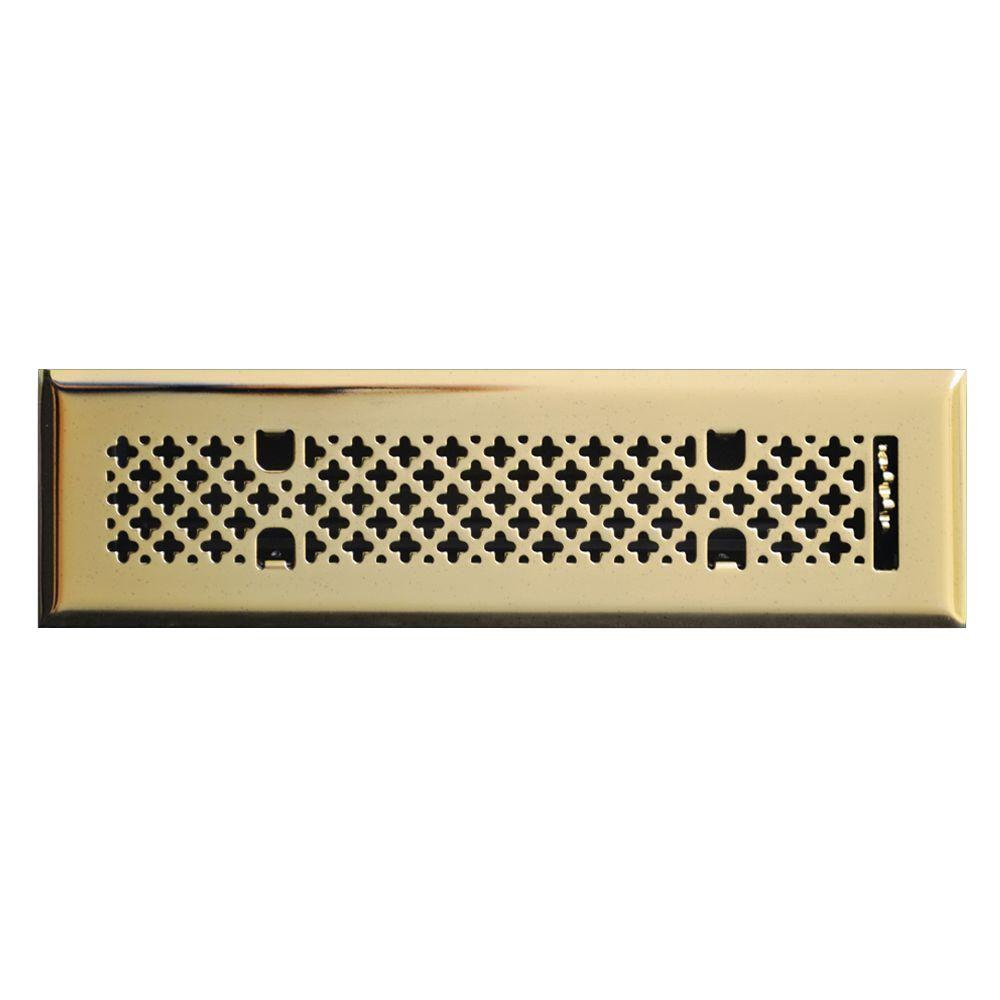 T.A. Industries 2 in. x 12 in. Retro Couture Floor Diffuser, Polished Brass