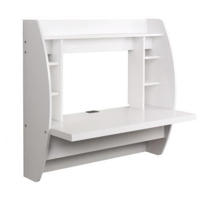 43 in. Rectangular White Floating Desk with Cable Management