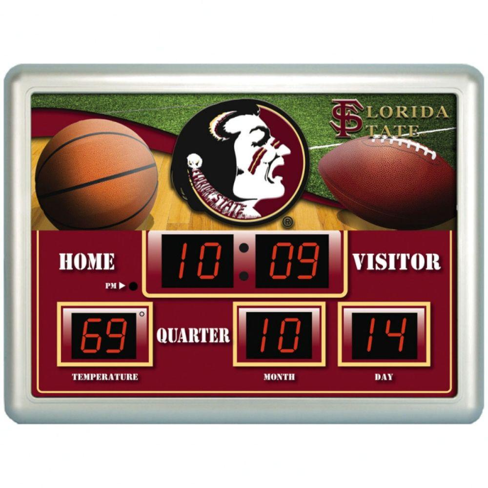 null Florida State University 14 in. x 19 in. Scoreboard Clock with Temperature
