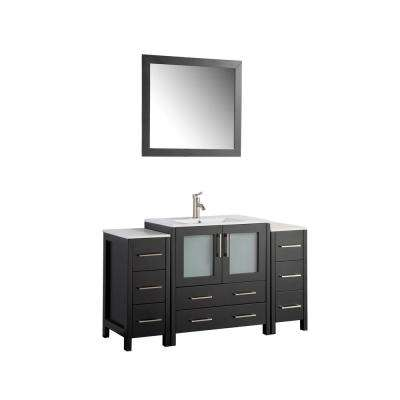 Brescia 54 in. W x 18 in. D x 36 in. H Bathroom Vanity in Espresso with Vanity Top in White with White Basin and Mirror