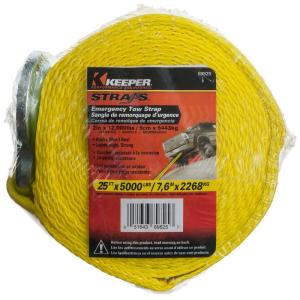 Click here to buy Keeper 25 ft. x 2 inch Heavy-Duty Tow Strap by Keeper.