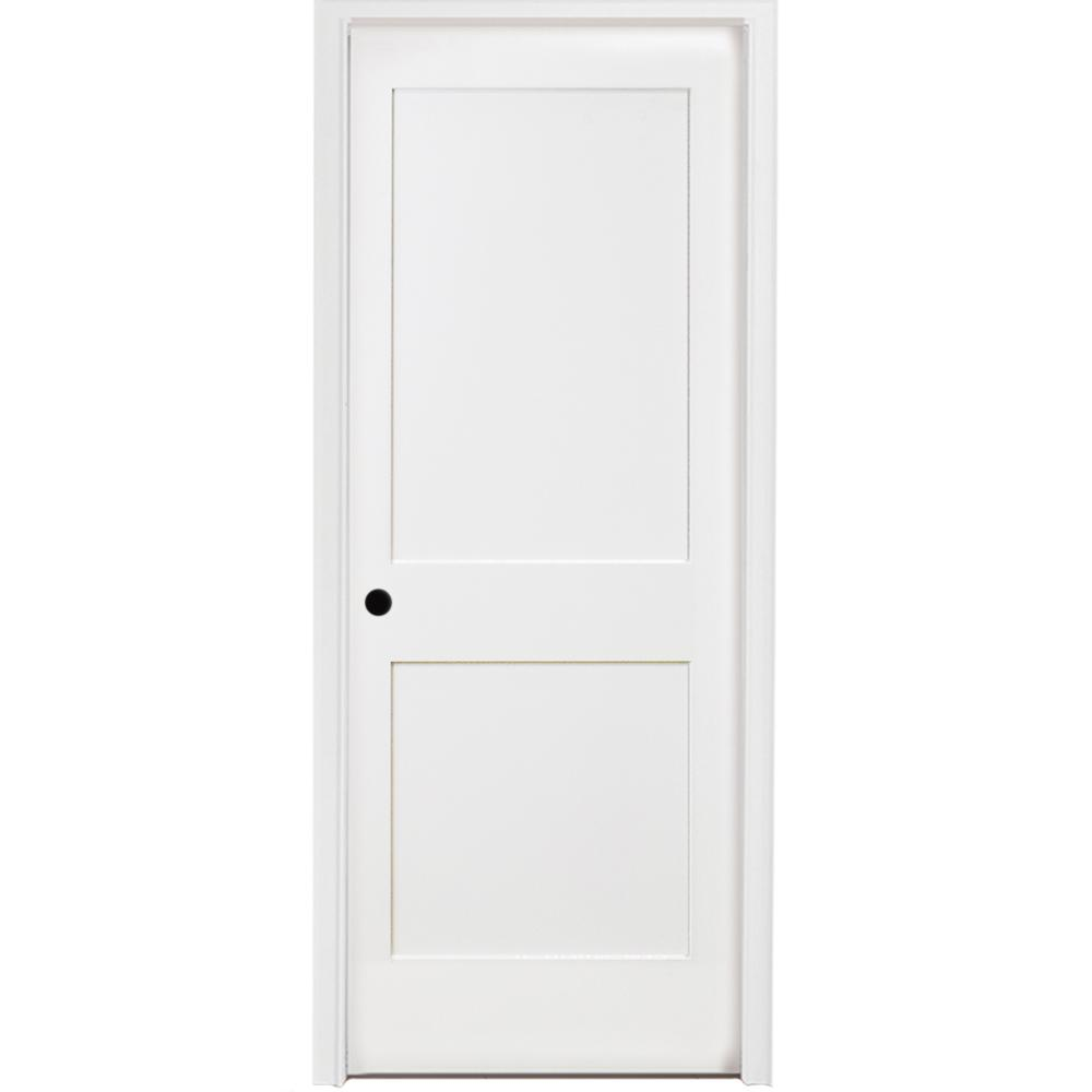 2 Panel Square Primed Shaker Solid Core Wood Single Prehung Interior Door Right Hand With Bronze Hinges