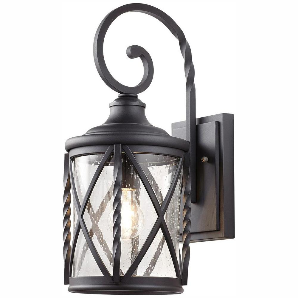 Home Decorators Collection 1-Light Black 18.75 in. Outdoor Wall Lantern Sconce with Seeded Glass