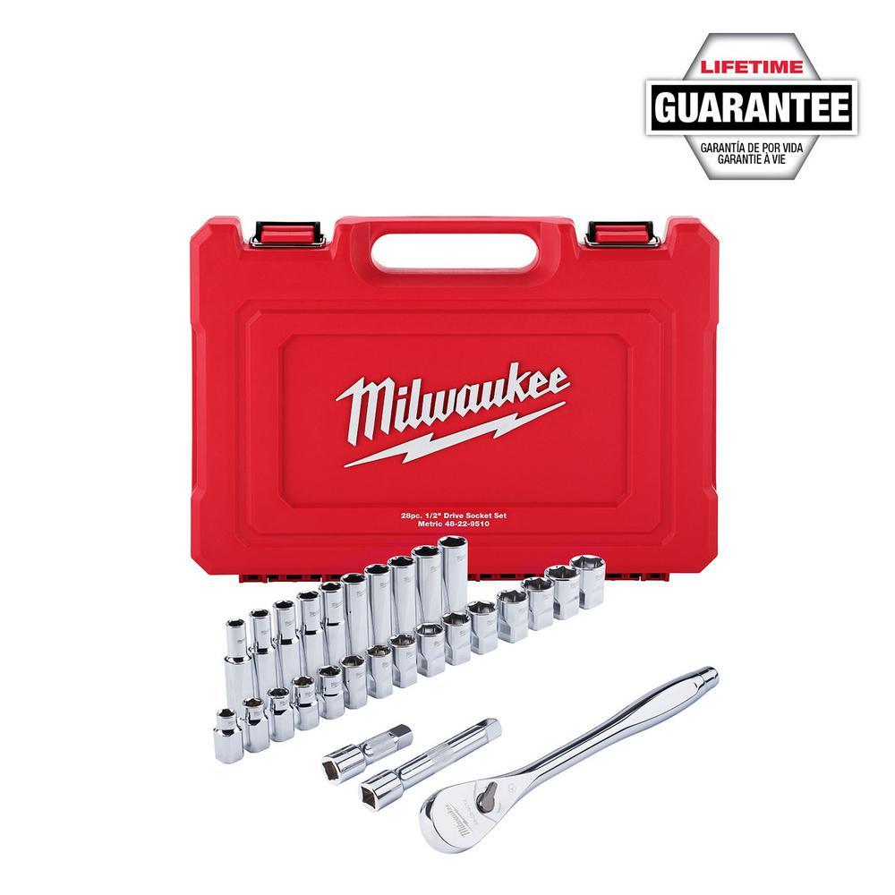 Milwaukee Milwaukee 1/2 in. Drive Metric Ratchet and Socket Mechanics Tool Set (28-Piece)
