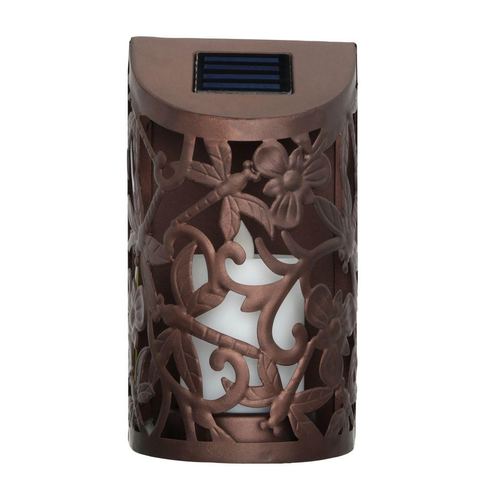 Moonrays Solar Powered Bronze Outdoor Led Wall Lantern Sconce With Flickering Candle 2 Pack