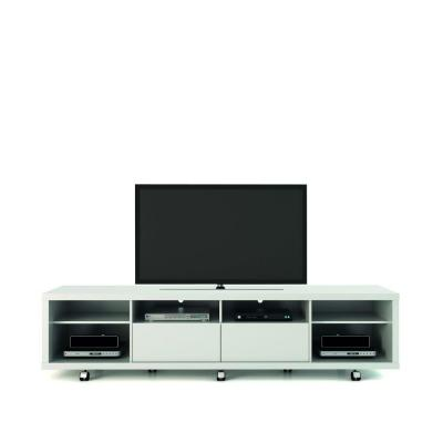 Cabrini 85 in. White Gloss Particle Board TV Stand with 2 Drawer Fits TVs Up to 70 in. with Cable Management