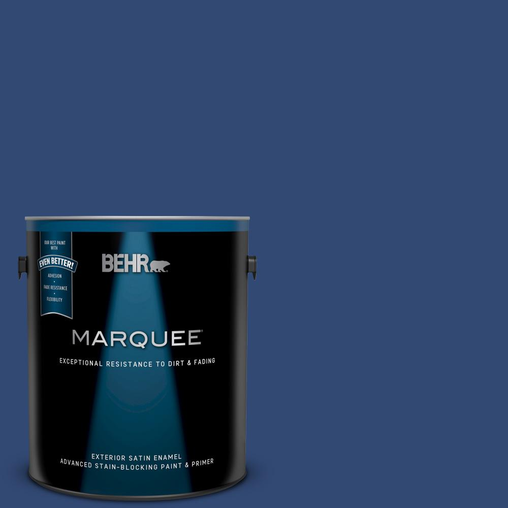 Behr Marquee 1 Gal S H 580 Navy Blue Satin Enamel Exterior Paint And