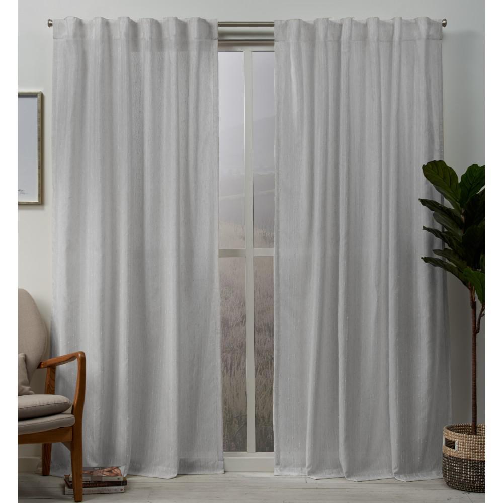 Muskoka 54 in. W x 96 in. L Embellished Hidden Tab Top Curtain Panel in Dove Gray (2 Panels)