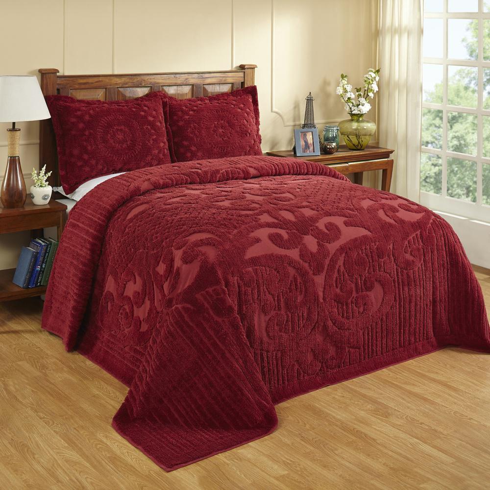 Bedspreads.Ashton 1 Piece Burgundy Queen Bedspread