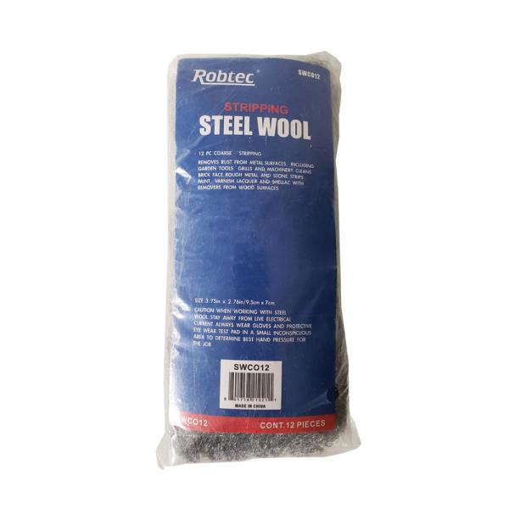 Grade #2 Coarse Steel Wool Pads (12-Pack)