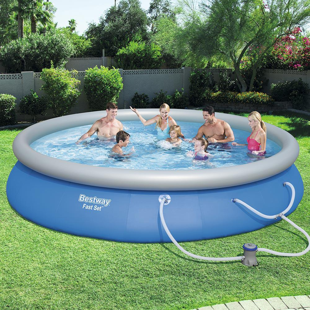 bestway 15 ft round 33 in deep fast set swimming pool set 57315e the home depot. Black Bedroom Furniture Sets. Home Design Ideas