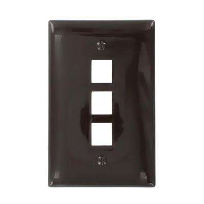 1-Gang QuickPort Midway Size 3-Port Wallplate, Brown