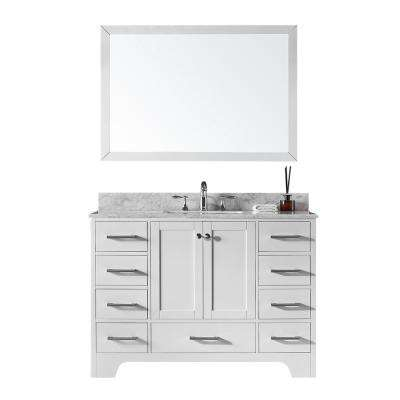 48 in. Single Sink Bathroom Vanity in White with Carrara White Marble Top and Mirror Set