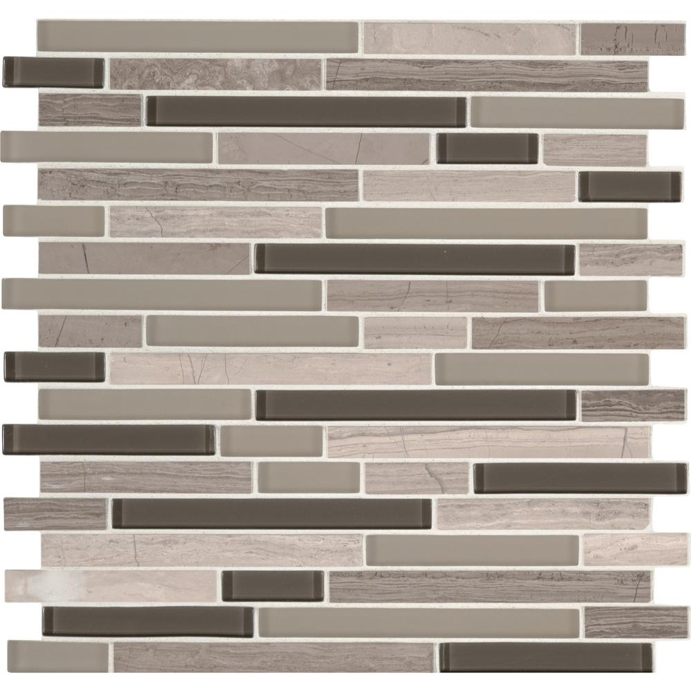 MSI Modello Grigio Interlocking 12 in. x 12 in. x 6 mm Glass Stone Mesh-Mounted Mosaic Tile (1 sq. ft.)
