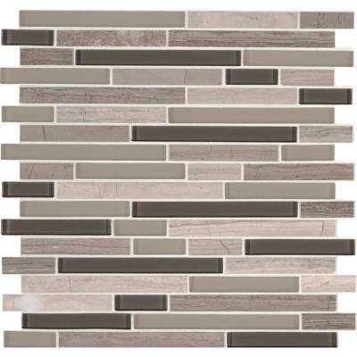 Modello Grigio Interlocking 12 in. x 12 in. x 6 mm Glass Stone Mesh-Mounted Mosaic Tile (1 sq. ft.)