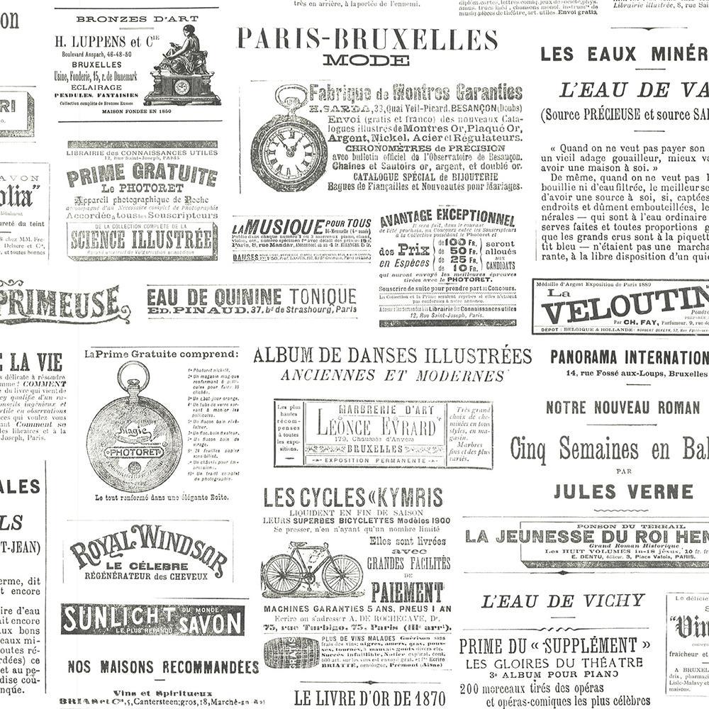 Advantage 8 in. x 10 in. Ayer Black Vintage Newspaper Wallpaper Sample