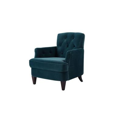 Kelly Satin Teal Tufted Accent Chair